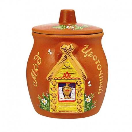 Горшочек глиняный для меда «Изба»