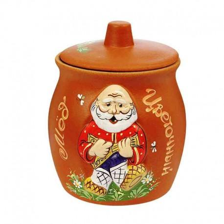 Горшочек глиняный для меда «Дед»